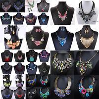 Women Fashion Jewelry Pendant Crystal Choker Chunky Statement Chain Bib Necklace