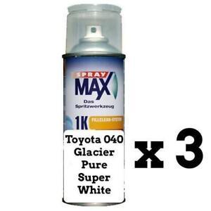 Auto Touch Up Toyota 040 Glacier Pure Super White Corolla Camry RAV-4 298ml x 3