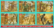 Airfix 1/32 Scale Brown Box Set of 6 Posters Japanese Australian British German