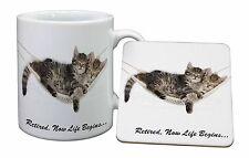 Les chats dans un hamac retraite cadeau mug + sous-verre de noël/cadeau d'anniversaire, AC-RET206MC