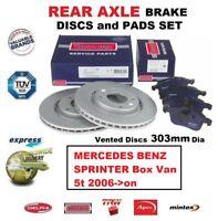 FOR MERCEDES SPRINTER Box Van 5t 2006->on REAR AXLE BRAKE PADS + DISCS 303mm Dia
