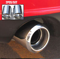 2Pcs For Mazda 3 6 CX-5 Muffler Tips Exhaust Tailpipe End Trim Chrome Cover Lid