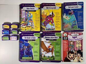 Lot of 6 Quantum Leap Pad Books & Cartridges Brain, Dinosaurs, Knight, Science..