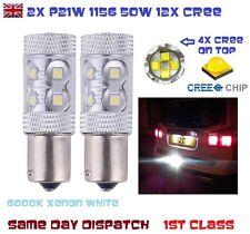2x P21W Ba15s 1156 382 50w CREE BULB Xenon White 6000k Car REVERSE STOP FOG DRL