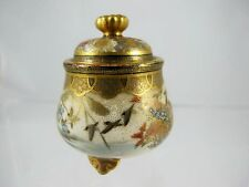 FINELY DECORATED MINIATURE SATSUMA LIDDED POT SIGNED NISHIKI, C C1890'S
