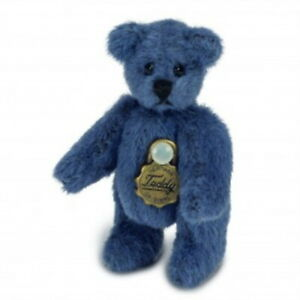 Teddy Hermann jointed collectable miniature blue teddy bear in gift box 154464