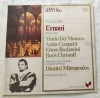 ERNANI GIUSEPPE VERDI LP MARIO DEL MONACO CERQUETTI VINYL ITALY 1981 NM/NM