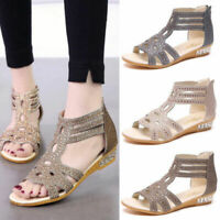 Sexy Women High Heels Gladiator Hollow Leather Sandals Summer Wedge Casual Shoes