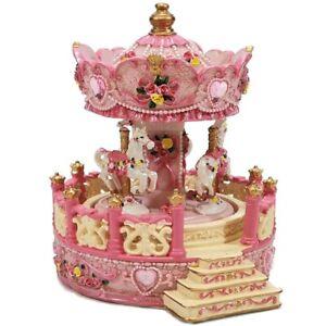 Giostra rosa carillon di natale con cavalli per bambini carosello movimento cm17