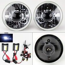 "7"" Round 10,000K HID Xenon H4 Clear Projector Glass Headlight Conversion Pair"