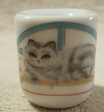 Vintage miniature candle holder gray cat by Funny Designs West Germany