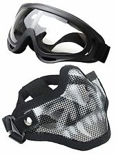 Set 2pcs Airsoft Half Face Mask Steel Mesh with Goggles Set Skull New Game Parts