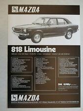 Prospekt Mazda 818 Limousine, 1971, 2 Seiten mit Preisangabe, deutsch