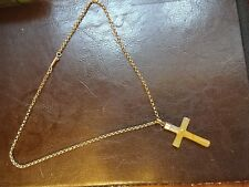 Superb Antique 9ct Rose Gold Belcher and Yellow Onyx Cross 4g & 3.4g