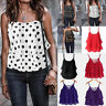 UK Women Leopard Dot Camisole Strappy Flare Swing Cami Summer Vest Top Size 8-26
