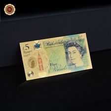 Or £ 5 Cinq Pound 24 Ct Gold Leaf Note