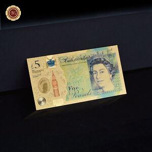 GOLD £5 FIVE POUND 24 CARAT GOLD LEAF NOTE