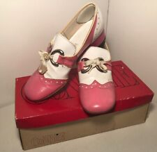 Gaymode Vintage 50's Saddle Shoes Pink White Heels Cosplay Costume Rare Size 6.5