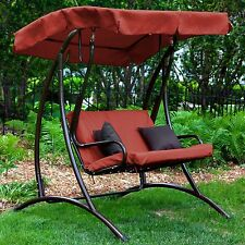 2 Person Red Cushion Canopy Patio Swing Home Outdoor Living Garden Poolside Deck
