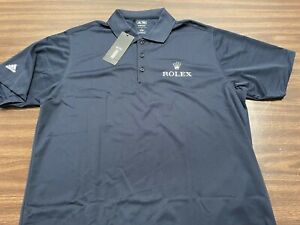 ROLEX golf polo shirt BRAND NEW Adidas Climalite RARE Large Navy NWT