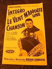 Partition Integro Primo Corchia Le vent m'apporte une chanson 1961