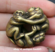 "1.4""Curio Chinese Bronze Animal Three Monkeys 'No Hear/No Look/No Speak' Pendant"