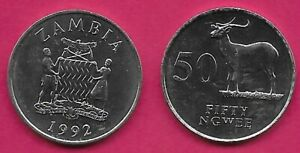 ZAMBIA 50 NGWEE 1992 UNC KAFUE LECHWE,NATIONAL ARMS WITH SUPPORTERS,DATE BELOW