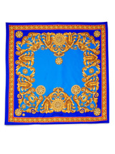 "Authentic $330 Versace Carre Intricate Foulard Silk Scarf Blue Gold 36"" Italy"