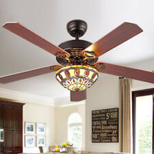 "52"" Indoor Tiffany Style LED Ceiling Fan Chandelier Lamp Living Room Restaurant"