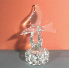 "Large glass flower center piece w frog, 9"" bird/dove/seagull B19"