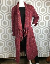 Lucky Brand Warm Red Extra Long Sweater Cardigan Duster SZ S GUC Ships Free!