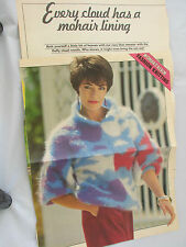 Knitting Pattern Ladies Mohair Sweater with Cloud Motifs