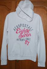 Aeropostale Hoodie White Pink Juniors Large Sweatshirt Fitted Kangaroo Pocket