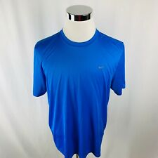 Nike Dri-Fit Running Reflective Short Sleeve Blue T-Shirt Mens XL X-Large