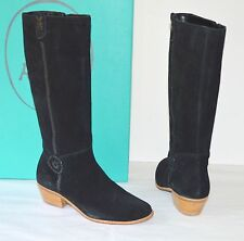 New $198 Jack Rogers Sawyer Suede Black Tall Boots Whip Lace Side Zip Stack Heel