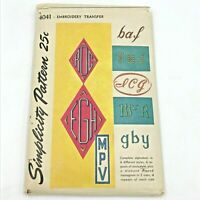Vintage Simplicity Sewing Pattern Monogram Embroidery Transfer Alphabets 4041 PT