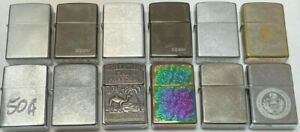 Vintage Zippo 12 Lighter Lot   Ages Range from 1997 to 2012   1 Military   RARE