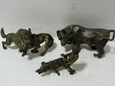 ROGERS & SMITH CONN  SILVER CO? 1800'S Bronze Wolf,Dog,Bull,Wild Boar,Boy RARE