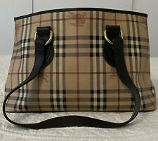 Authentic Burberry Haymarket Check Brown Medium Regent Tote Bag Italy Excellent