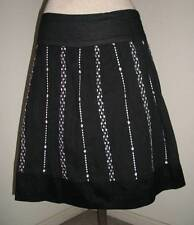 JOE BENBASSET Womens Size 6 A Line Mini Skirt Black White Floral Embroider Small