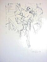 Erika Geiger (XX) - Lithographie einer Federzeichnung 1951: GROSSVATER IM SESSEL