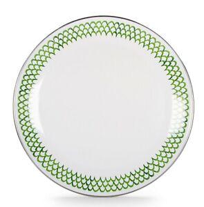 "Golden Rabbit Enamelware Green Scallops 10.25"" Coupe Style Dinner Plate"
