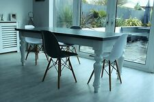 8 seater,1m x 2m modern Victorian style Dining table, white & 'Downpipe' grey