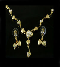 Bridal prom gold tone necklace set sparkly heart diamante rhinestone bridal -015