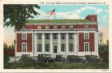 U.S. Post Office and Government Building in Spartanburg SC Postcard 1940