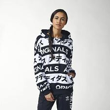 adidas ORIGINALS TYPO BLACK WHITE HOODIE 6-14 DRAWSTRING WOMENS GIRLS JAPANESE