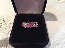 Miadora 10k White Gold Created Ruby, Pink Sapphire, Diamond Flower Ring size 6.5