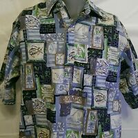 Go Barefoot Fish Reverse Print Size Large Pullover Hawaiian Shirt Aloha Turtles