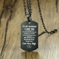 To My Husband I Love You Dog Tag His Pendant Necklace Personalised Jewelry Black