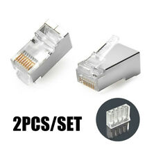 50PC RJ45 Connector Plug CAT6 Shielded Crystal Pass Through 8P8C Network Modular